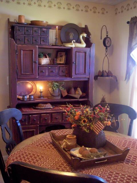 A primitive place primitive colonial inspired dining rooms for Primitive decorating ideas for living room